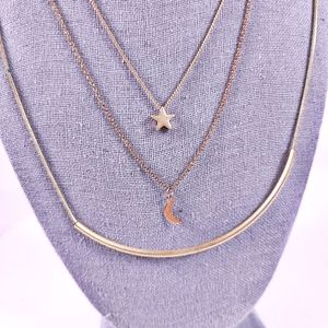Delicate Necklace Set Star Moon Modern Minimalist Gold-tone Bar 3 Necklaces